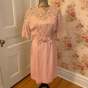 Vintage Pink Lace Semiformal Dress
